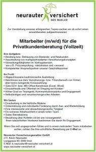 Mitarbeiter (m/w/d) für die Privatkundenberatung (Vollzeit)
